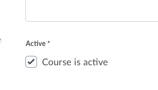 Course is Active checkbox